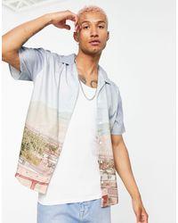 Mennace Revere Short Sleeve Shirt With All Over Desert Print - Multicolour