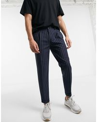 Burton Tapered Smart Trousers With Navy Stripe - Blue