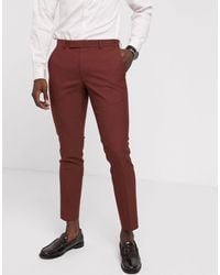 Moss Bros Moss London Suit Trouser - Red