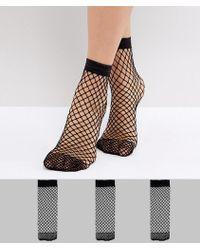ASOS - 3 Pack Oversized Fishnet Ankle Socks - Lyst