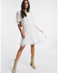 Vero Moda Skater Dress With Square Neck And Puff Sleeves - White