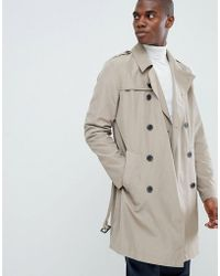 ASOS - Shower Resistant Trench Coat In Stone - Lyst