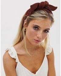 ASOS Headband With Bow Front In Plisse In Rust - Brown