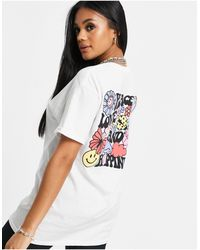 New Love Club Oversized T-shirt With Peace Love Graphic Back Print - White