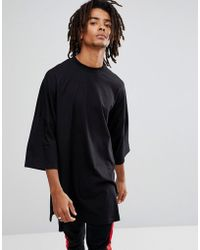 ASOS - Extreme Oversized Super Longline T-shirt With Side Splits In Black - Lyst