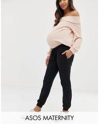ASOS ASOS DESIGN Maternity - Joggers basic con allacciatura e fascia sotto il pancione - Nero