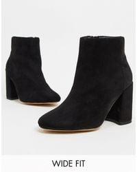 London Rebel Wide Fit Block Heeled Boots - Black