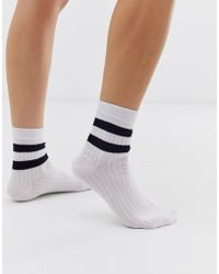 ASOS Stripe Ribbed Ankle Socks - White