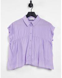 ASOS Smock Shirt With Dipped Hem - Purple