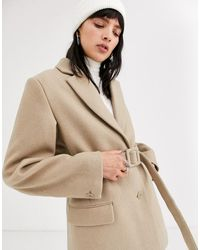 Weekday Belted Wool Blazer In Beige - Natural