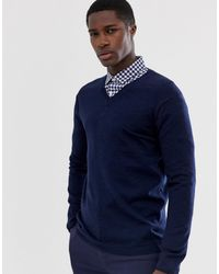 ASOS Merino Wool V-neck Sweater - Blue
