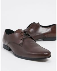 TOPMAN Leather Derby Shoes - Brown