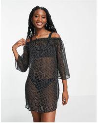 Brave Soul - Черное Пляжное Платье В Горошек С Открытыми Плечами -черный Цвет - Lyst