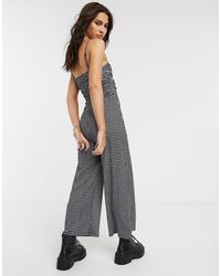 Bershka Ruched Front Gingham Jumpsuit - Multicolor