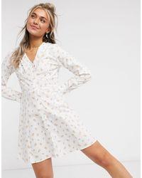 Monki Noomi Cotton Floral Print Collar Detail Mini Dress - White