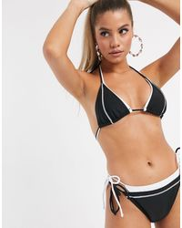 Public Desire Double Layer Tie Side Bikini Bottom-black