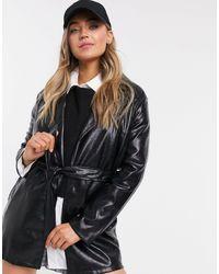 Bershka Belted Faux Leather Vinyl Shacket - Black
