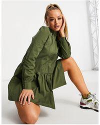UNIQUE21 Платье С Расклешенными Рукавами И Присборенной Отделкой -зеленый Цвет
