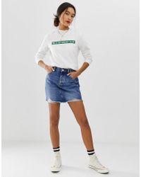 ONLY - Vintage Wash Destroyed Denim Mini Skirt - Lyst