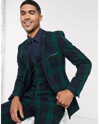 ASOS Giacca da abito super skinny con motivo scozzese Blackwatch - Verde