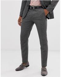 Burton Pantaloni da abito slim grigi a quadretti - Grigio