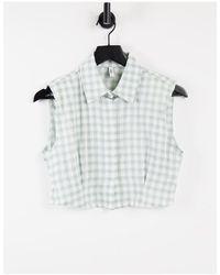ONLY Укороченная Рубашка Без Рукавов В Мелкую Клетку Нейтральных Оттенков -белый