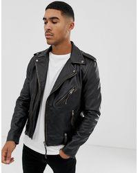 Bolongaro Trevor Biker Leather Jacket - Black