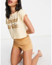 Brave Soul Crème Brulee Cropped Tshirt And Shorts Pjyama Set - Multicolour