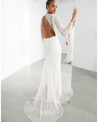 ASOS Lucy Placement Beaded Wedding Dress-white