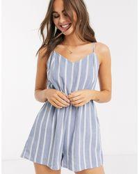 New Look Stripe Tie Back Beach Playsuit - Blue