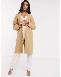 UNIQUE21 Gathered Cuffs Wool Coat-beige - Natural