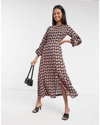 Closet Платье Мидакси С Длинными Рукавами И Контрастным Принтом -мульти - Многоцветный