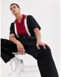 The Ragged Priest Chemise manches courtes style bowling - et bordeaux - Noir