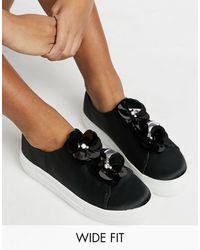 Simply Be Wide Fit Flower Sneakers - Black