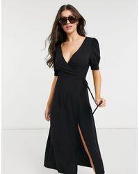 Fashion Union Эксклюзивное Черное Пляжное Платье С Запахом -черный Цвет