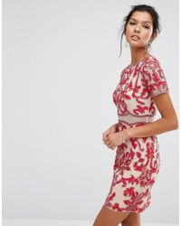 Frock and Frill Embellished Dress With Cap Sleeve - Red