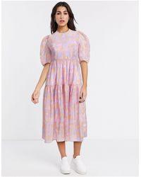 & Other Stories Vestido midi rosa con mangas abullonadas y diseño estampado