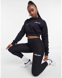 Ellesse Cropped Hoodie & leggings Set - Black