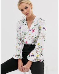 UNIQUE21 Floral Tie Cuff Bodysuit - White