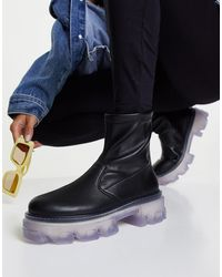 TOPSHOP Kendall - bottes stretch chunky - noir et transparent