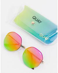 Quay Atomic Hexagonal Sunglasses With Rainbow Lens - Multicolour