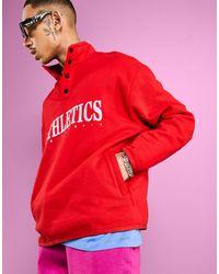 ASOS Felpa oversize rossa con stampa vintage sul davanti e bottoni - Rosso