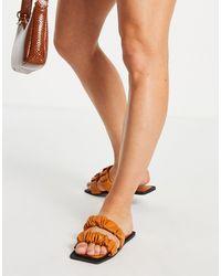 SIMMI Shoes Simmi London Parrish Ruched Flat Sandals - Natural
