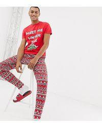 ASOS – Weihnachtliches Mr & Mrs-Pyjama-Set mit Mistel-Design - Rot