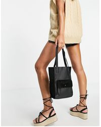 Urbancode Leather Tote Bag With Suede Pocket - Black