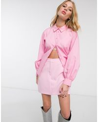 TOPSHOP Poplin Ruched Back Blouse - Pink