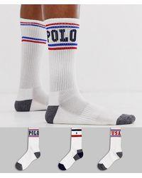 buy popular 3818b 997ec Confezione da 3 paia di calzini sportivi con logo color bianco/blu  navy/rosso/blu reale