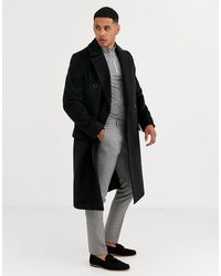 River Island Double Breasted Overcoat - Black