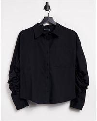 ASOS Chemise en coton à dos ouvert avec liens coulissants - Noir