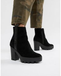 Calvin Klein Serina Suede Heeled Chelsea Boots - Black